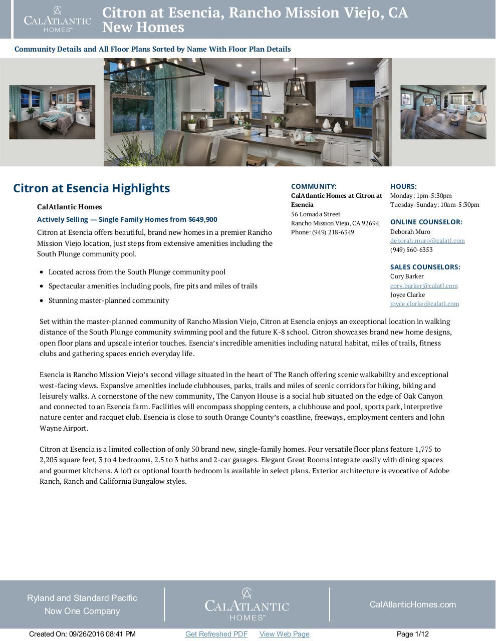 Citron At Esencia New Homes In Rancho Mission Viejo Ca 92694