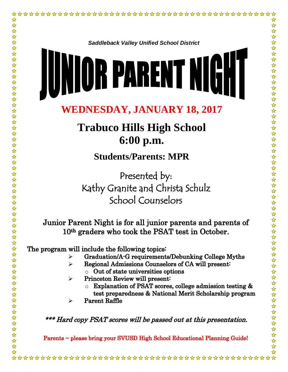 Document preview JUNIOR PARENT NIGHT FLYER 2017.pdf - page 1/1