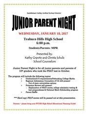 junior parent night flyer 2017