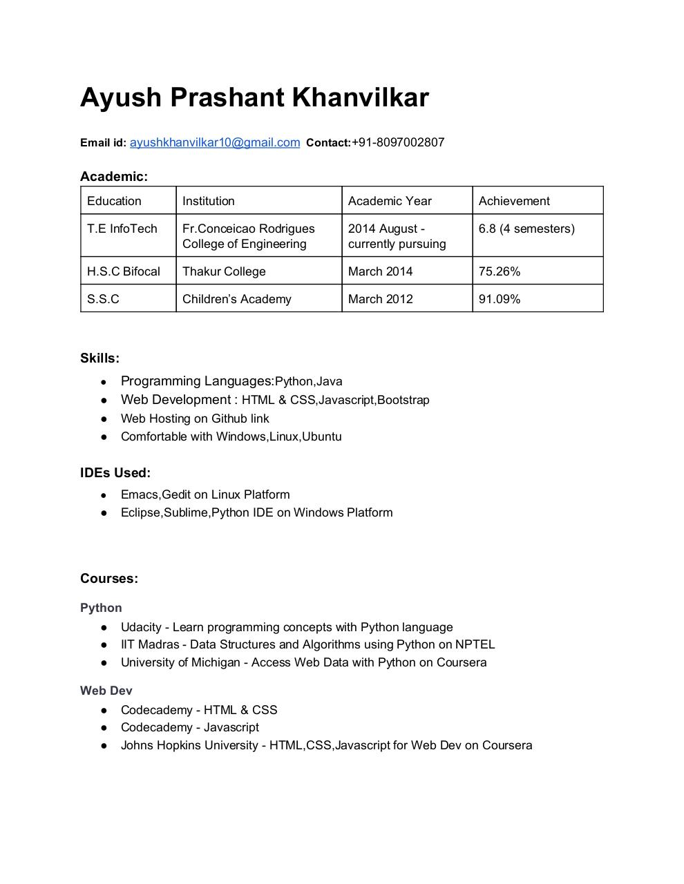 Document preview AyushKhanvilkarResume.pdf - page 1/2