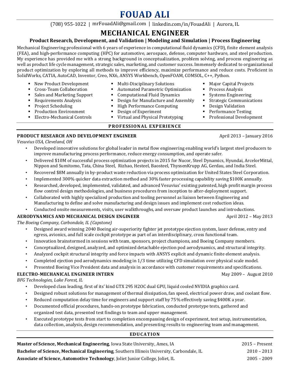 fouad ali u0026 39 s standard resume - fouad ali