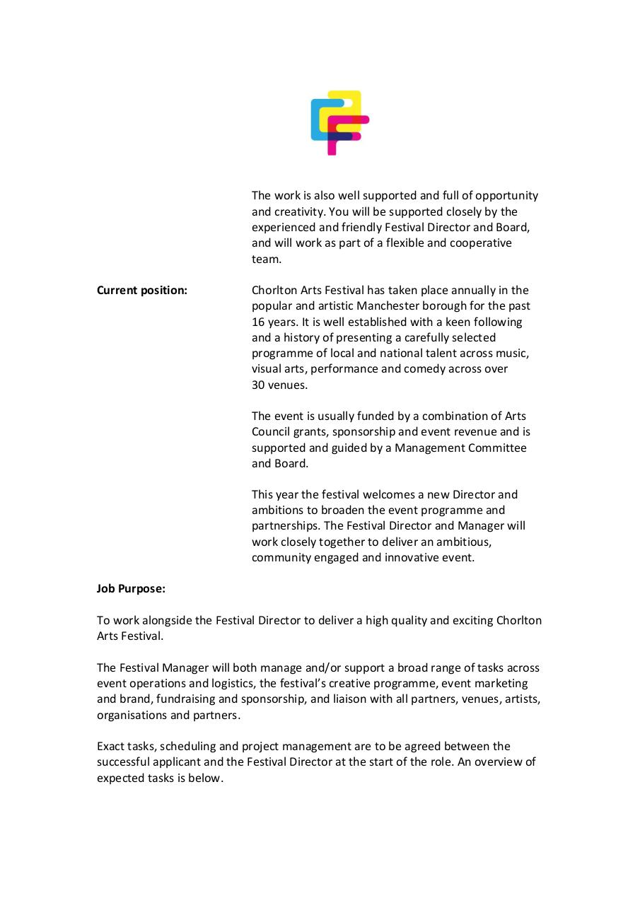 Chorlton Arts Festival Festival Manager Job Description by Philip