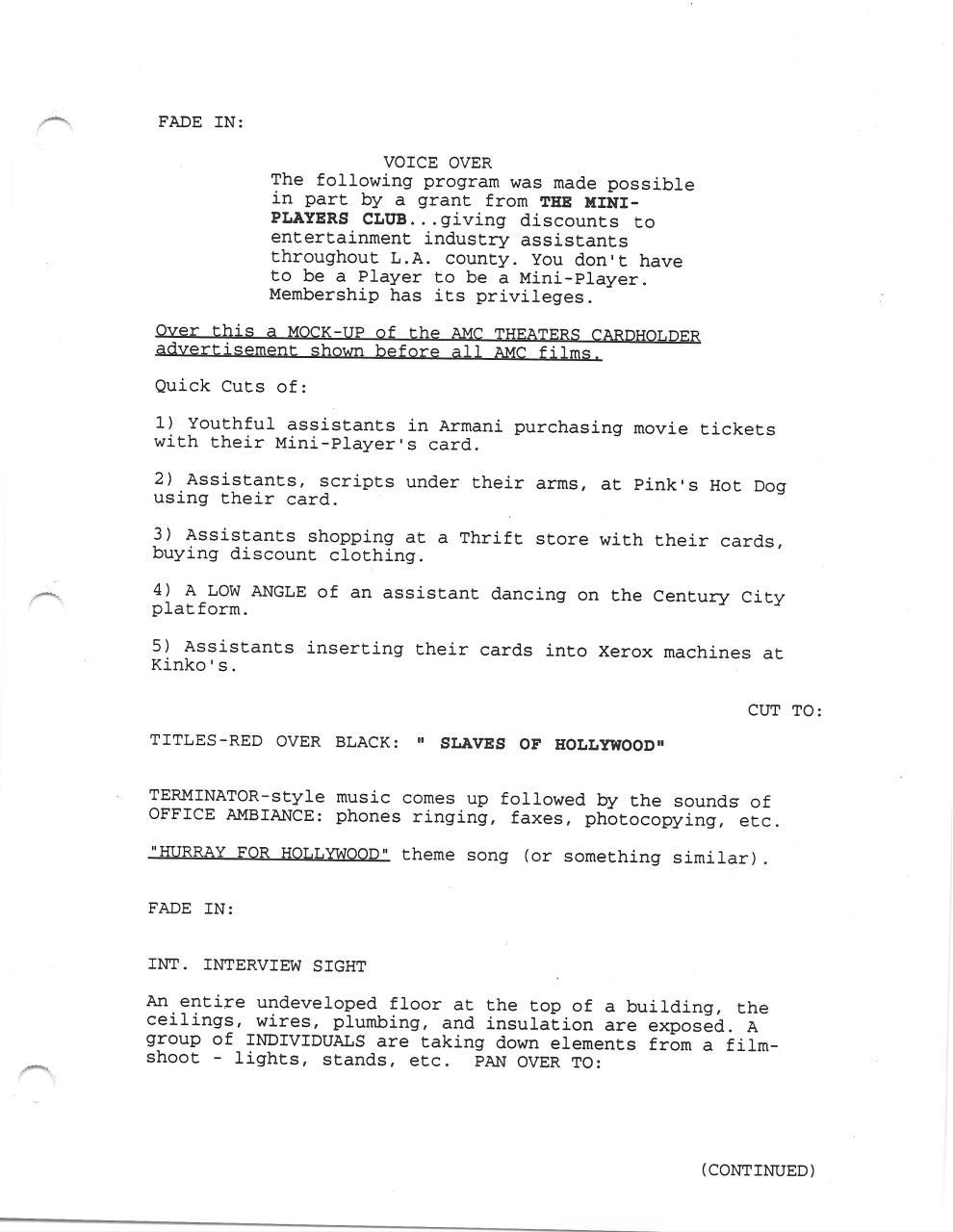 Slaves of Hollywood original script - PDF Archive
