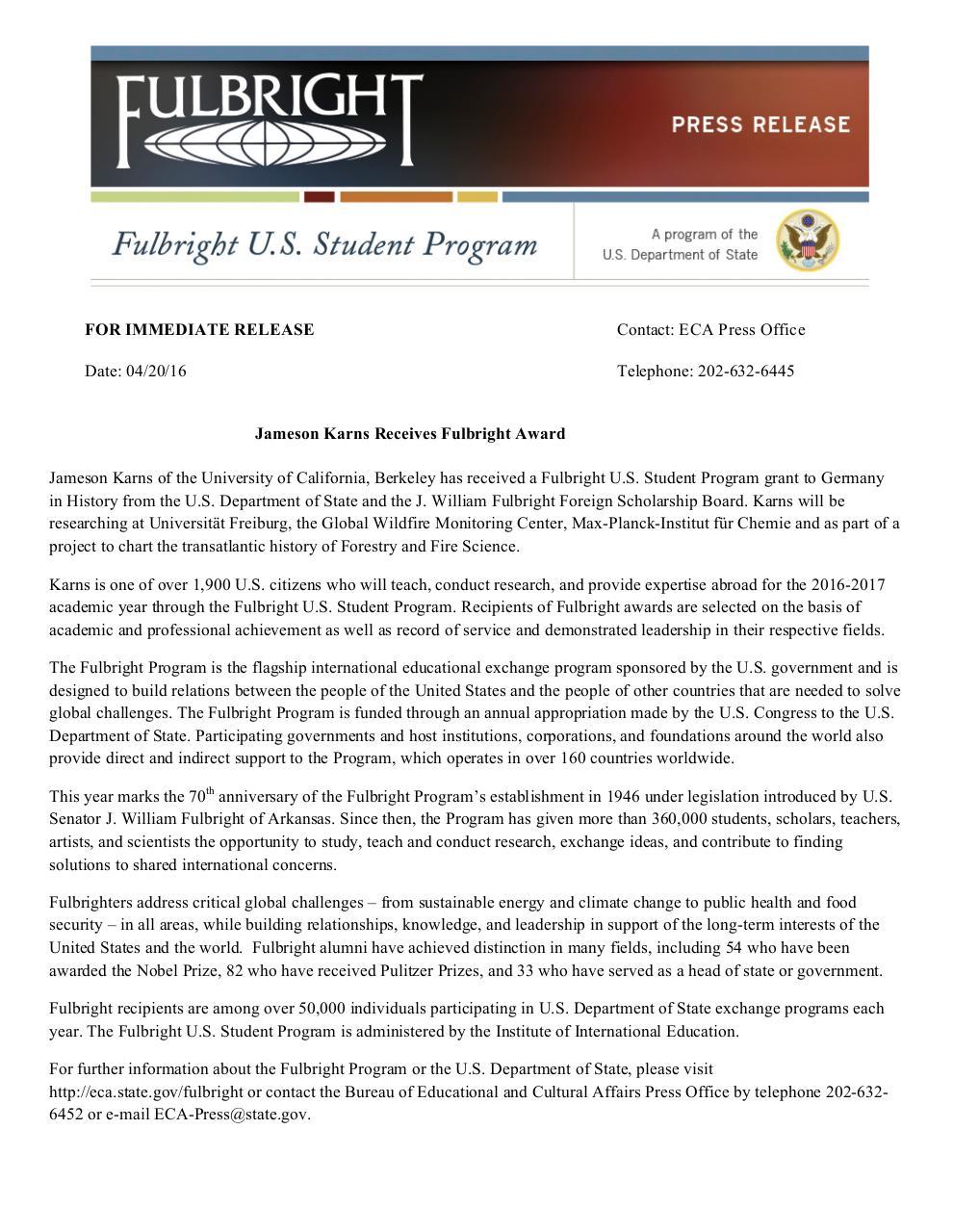 Karns 2016 Press Release Docx Fulbright Award Announcement Karns