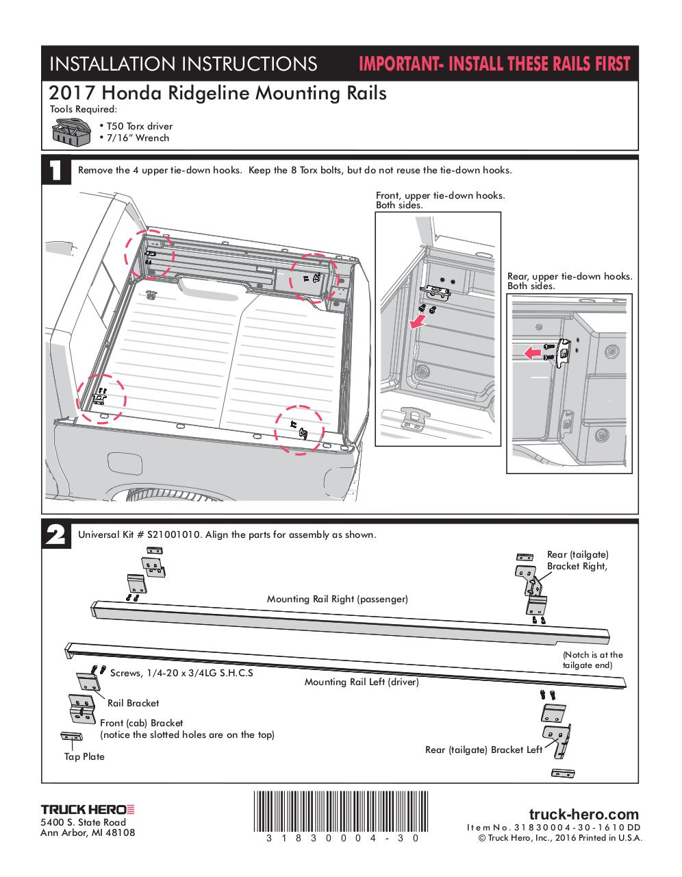 Document preview Honda Ridgeline 2017 Accessory Rails Install.pdf - page 1/2