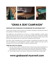 grab a seat fundraising campaign