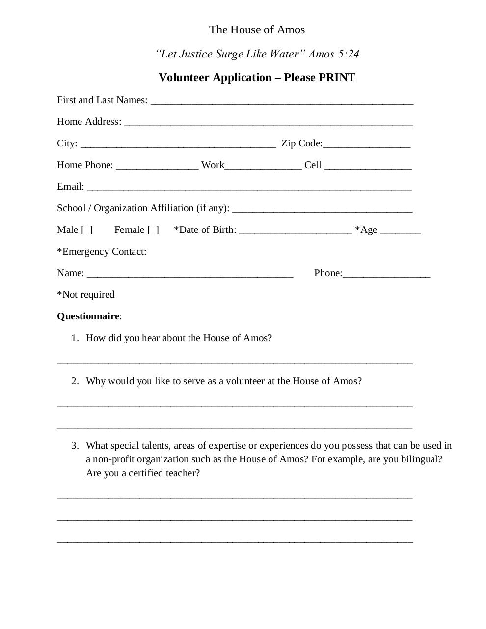 Document preview Volunteer Application.pdf - page 1/2