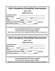 friendship tournament registration form
