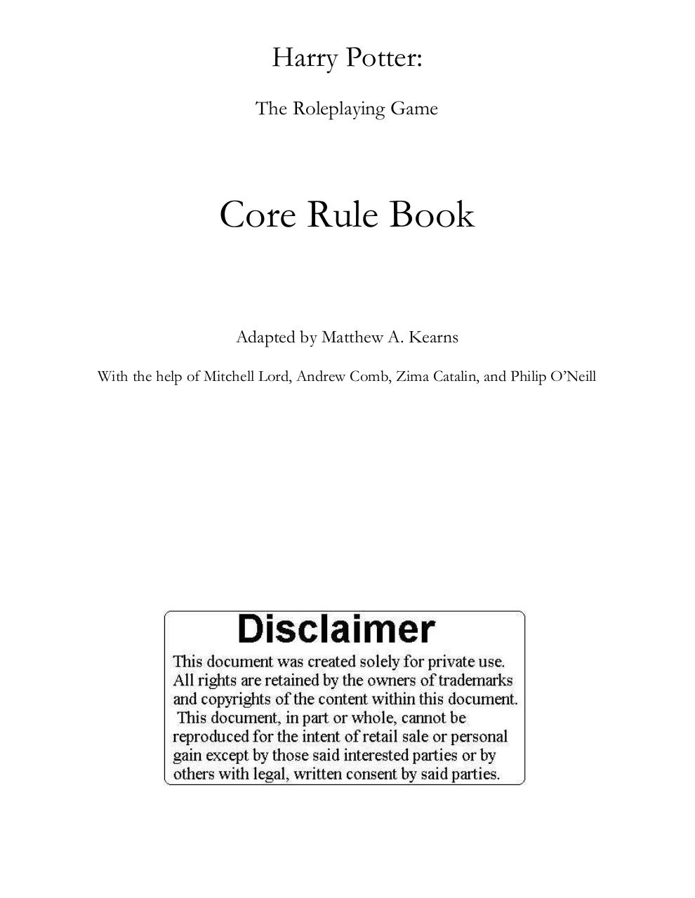 Harry Potter RPG Core Rule Book.pdf - page 1/163