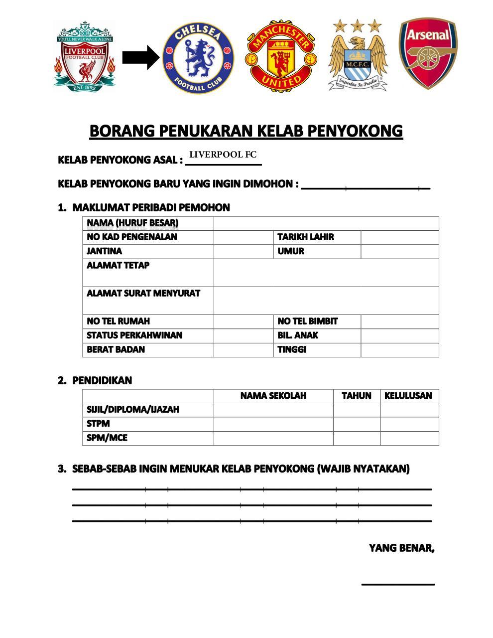 Borang Tukar Team By User Borang Tukar Team Liverpool Ke Kelab
