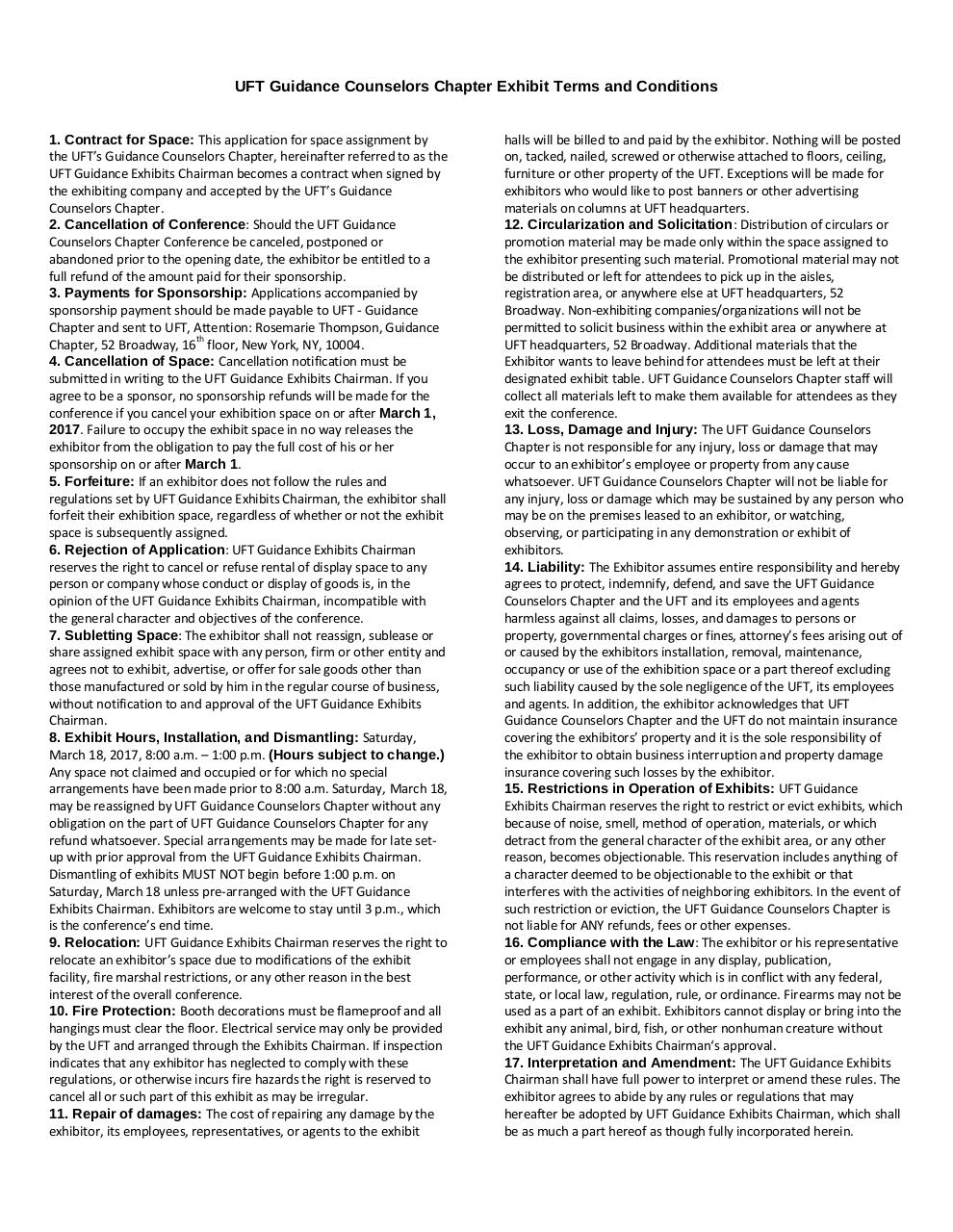 Document preview UFT Guidance Counselors Chapter Exhibit Terms and Conditions.pdf - page 1/1