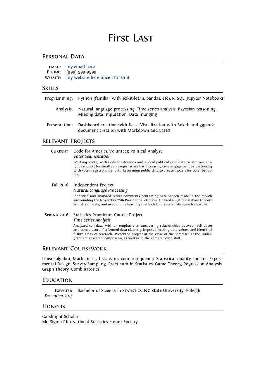 Curriculum Vitae Example Student