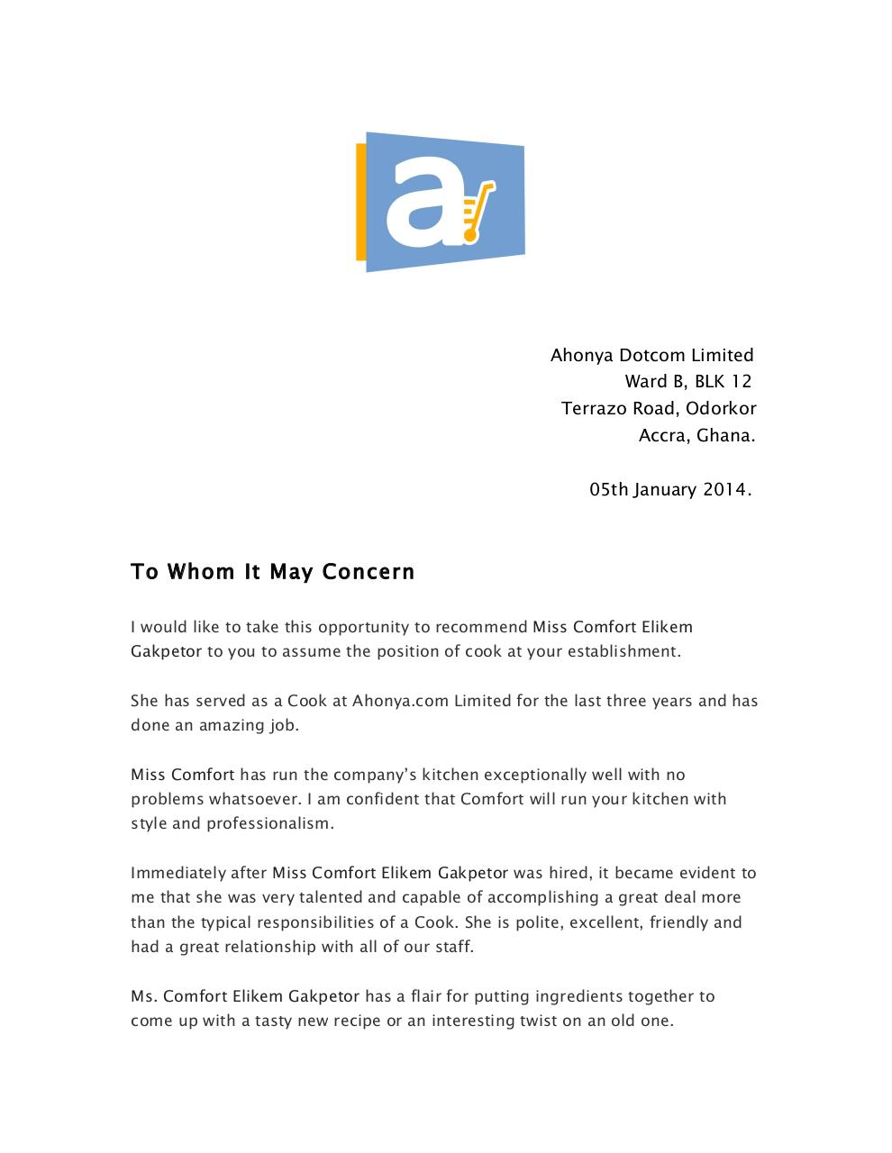 Ms. Comfort (Auntie Connie) Recommendation Letter 2.pdf - page 1/2
