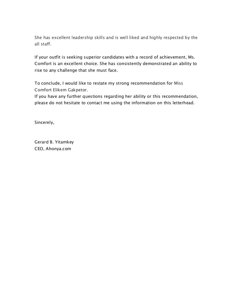 Ms. Comfort (Auntie Connie) Recommendation Letter 2.pdf - page 2/2