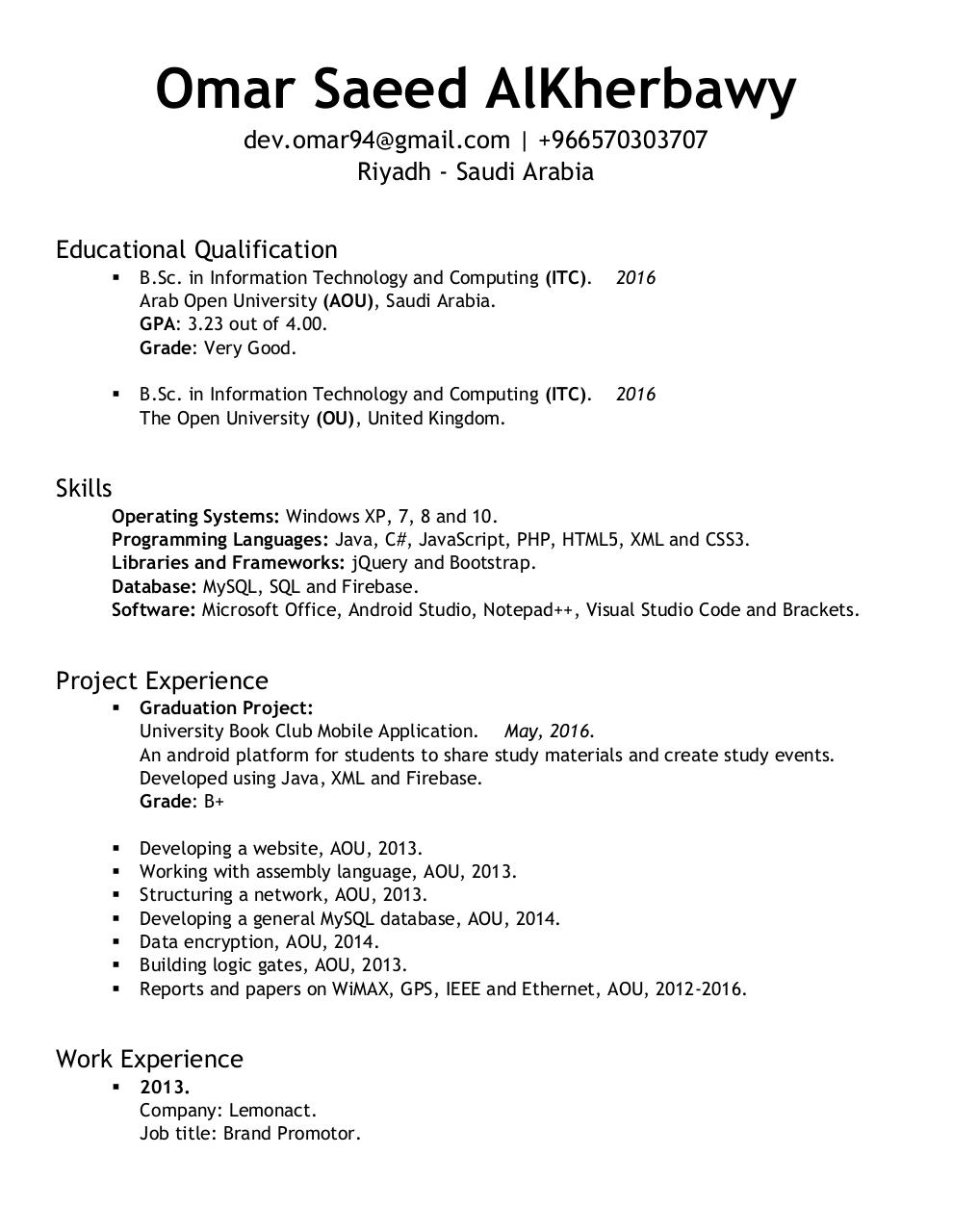 Document preview Omar Saeed-IT-CV.pdf - page 2/3