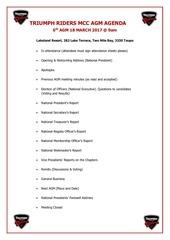 triumph riders 6th agm agenda 2017