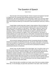 the question of speech
