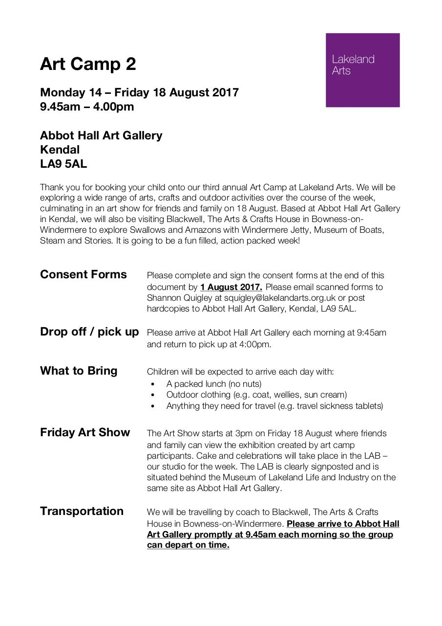 Document preview Art Camp 2 August 2017 Info and Consent Forms.pdf - page 1/5