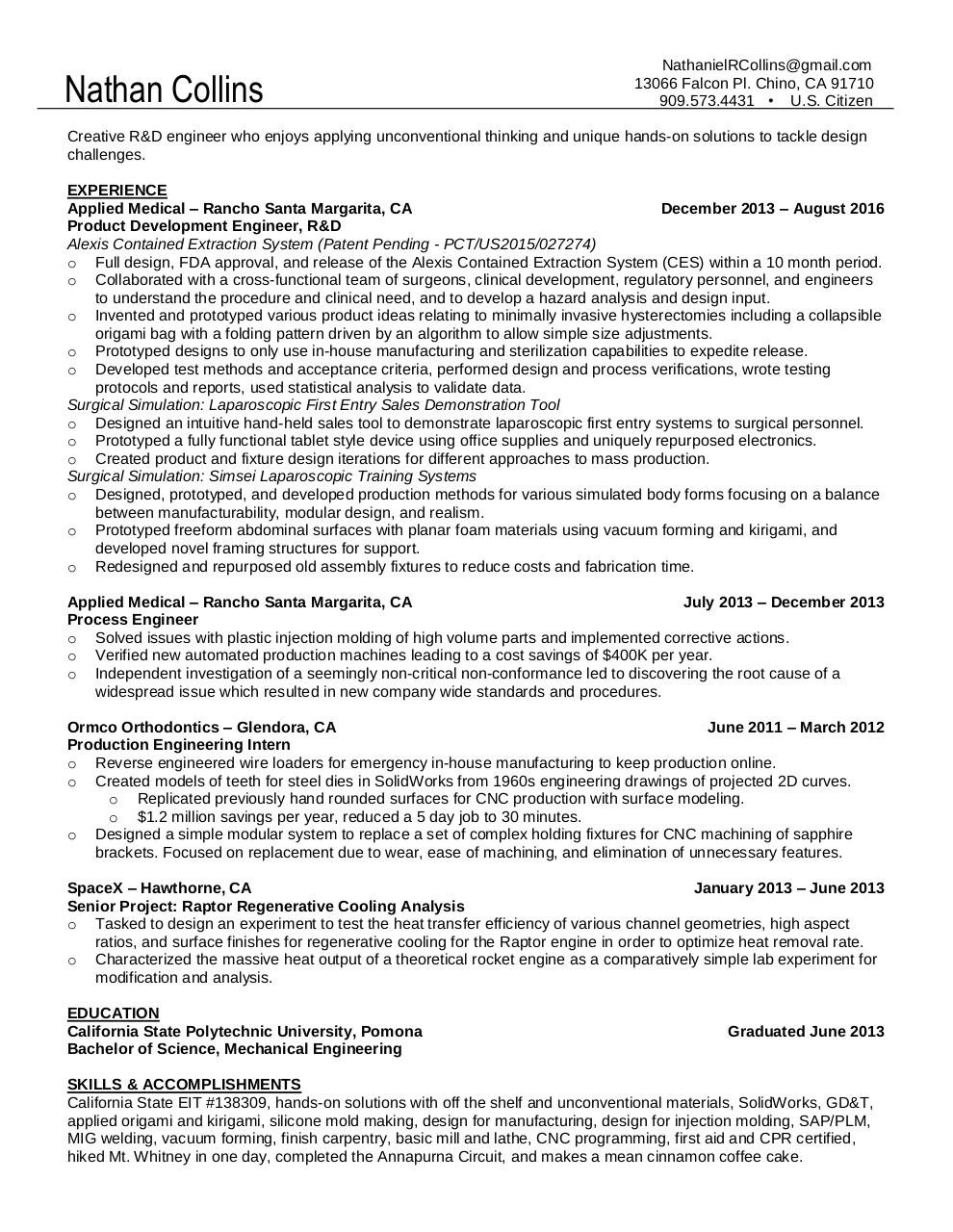 Nathan Collins Resume By Blindeye0 Pdf Archive