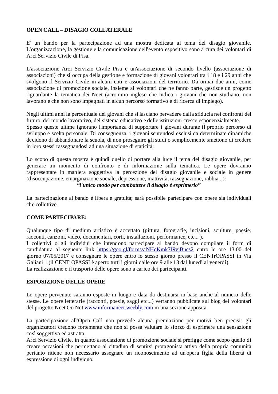 OPEN CALL PER EVENTO NEET pdf.pdf - page 1/2