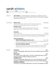 sarah winters resume cv 2017