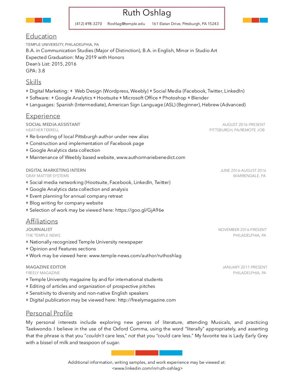 Resume #3 - Ruth Oshlag, Temple University (Resume #3 - Ruth ...