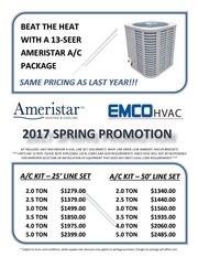 ameristar spring ac promotion 2017