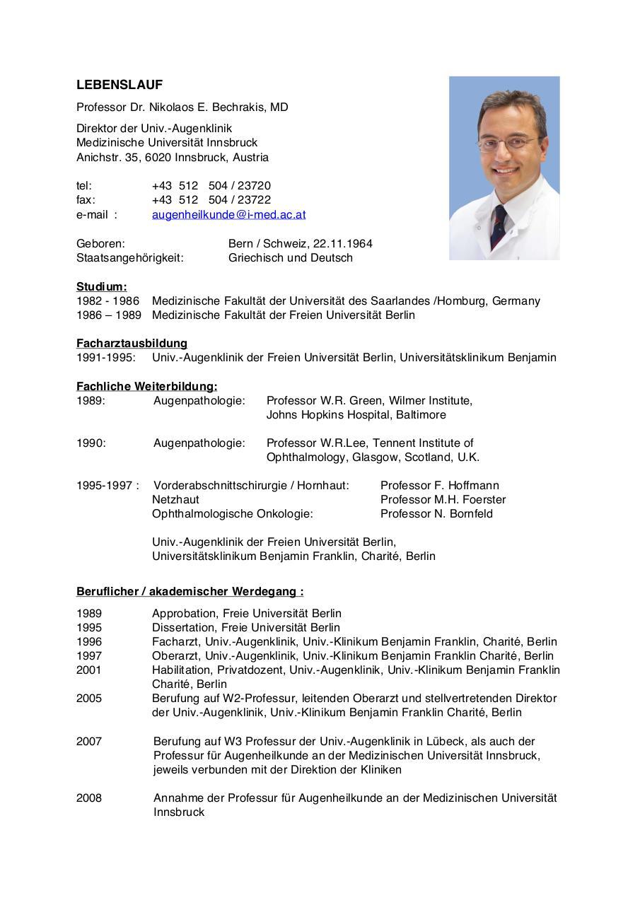 Atemberaubend Medizinischer Direktor Lebenslauf Fotos - Entry Level ...