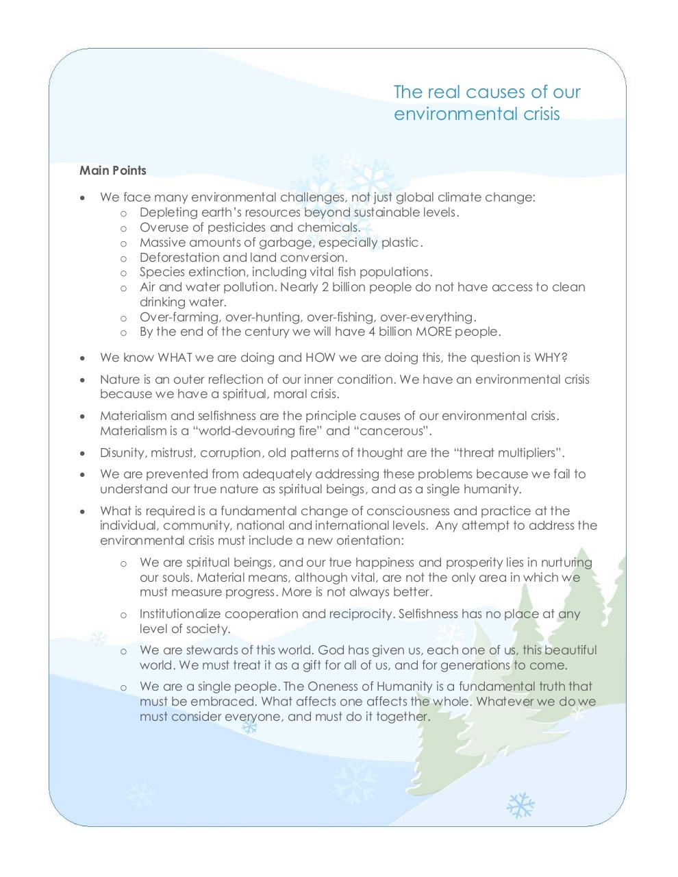 The real cause of our environmental  crisis handout.pdf - page 1/2