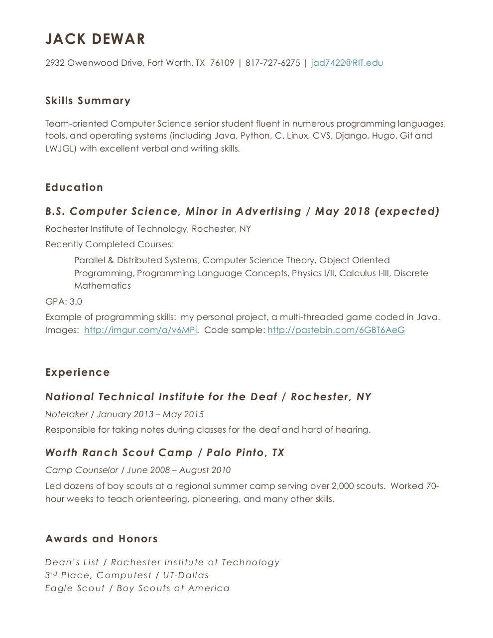 Jack Resume 2017 v3 by John Dewar - Jack Dewar Resume pdf