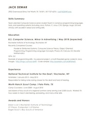jack dewar resume