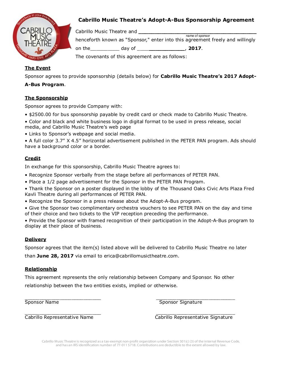 2017adopt a bus agreement by Paige Loter - 2017 Adopt-A-Bus