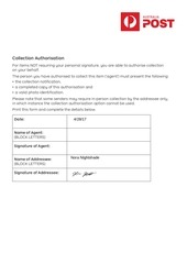 collection authorisation form