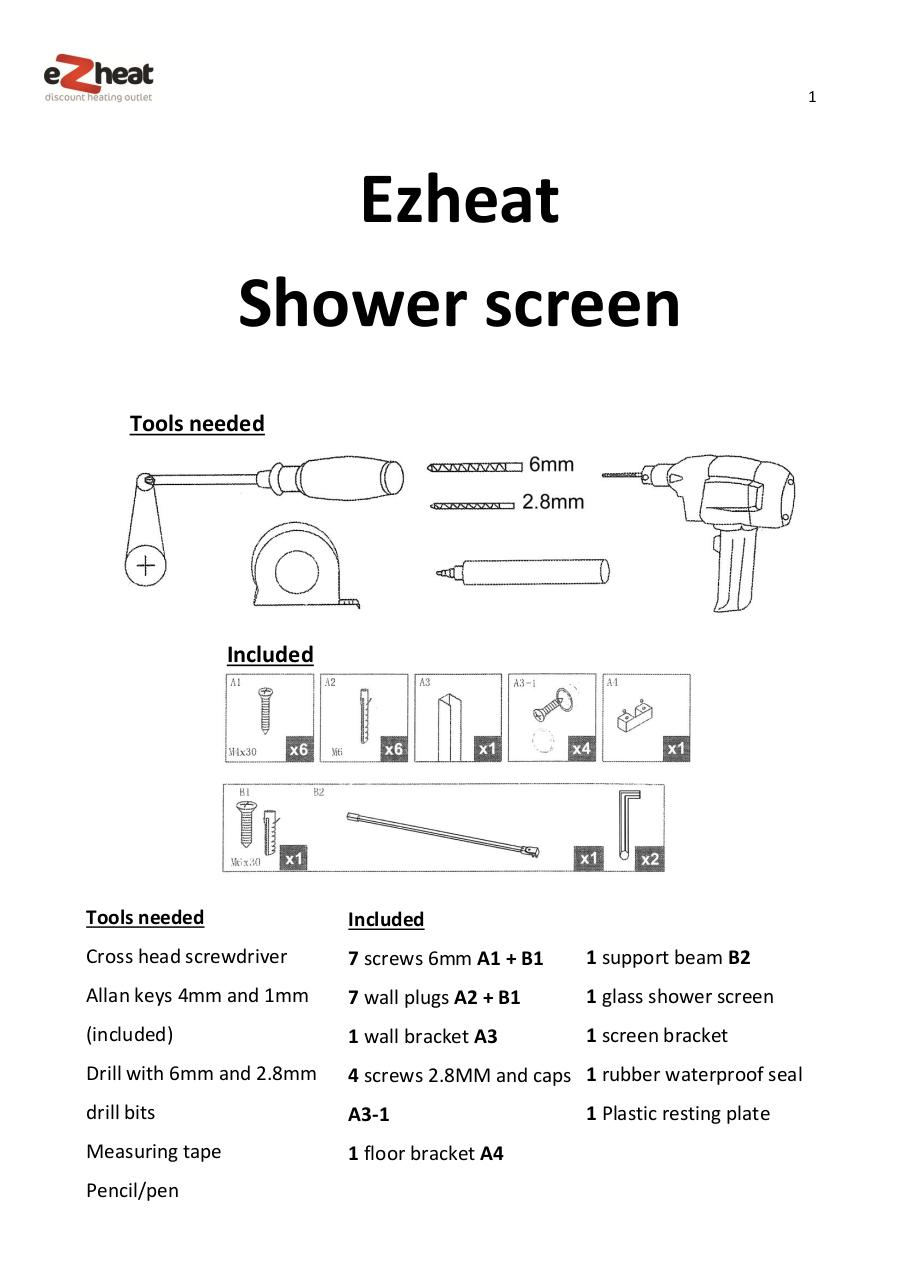 Shower screen install manual - Ezheat.pdf - page 1/4