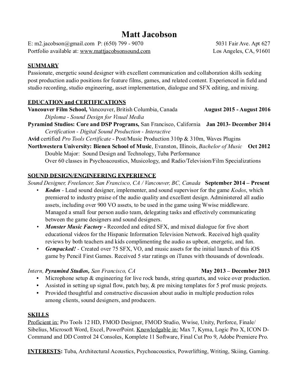 placement cv