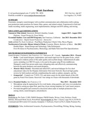resume matt jacobson may 2017