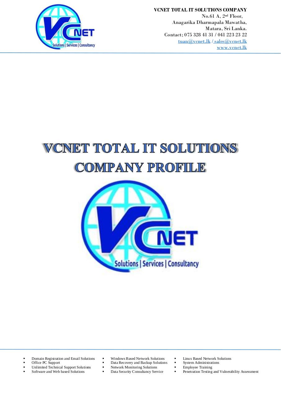 VCNET Total IT Solutions Company Profile by ijas - PDF Archive