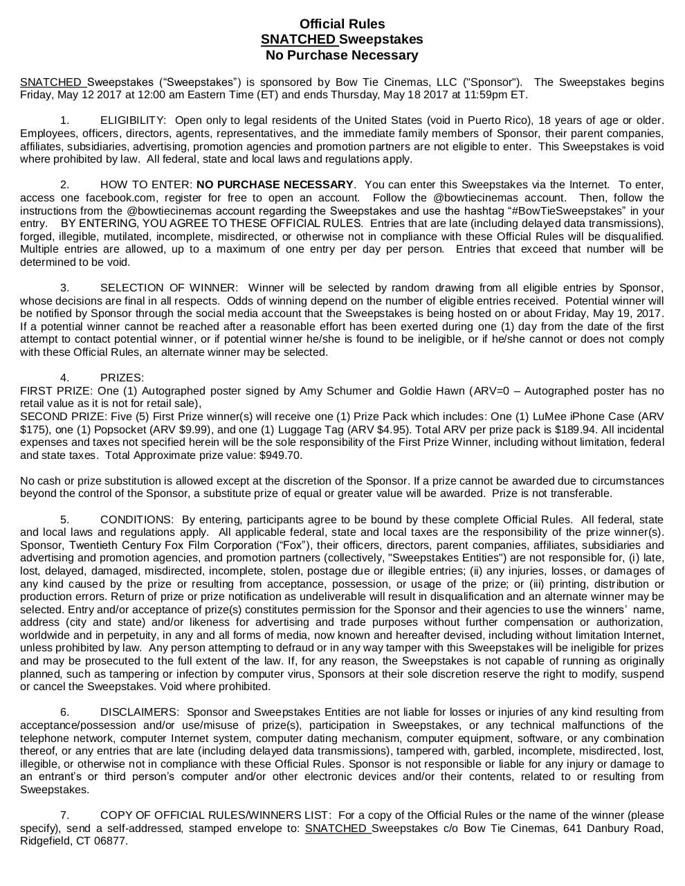 Document preview SNATCHED_Social_AutographedPoster_Sweepstakes_Rules (1).pdf - page 1/1