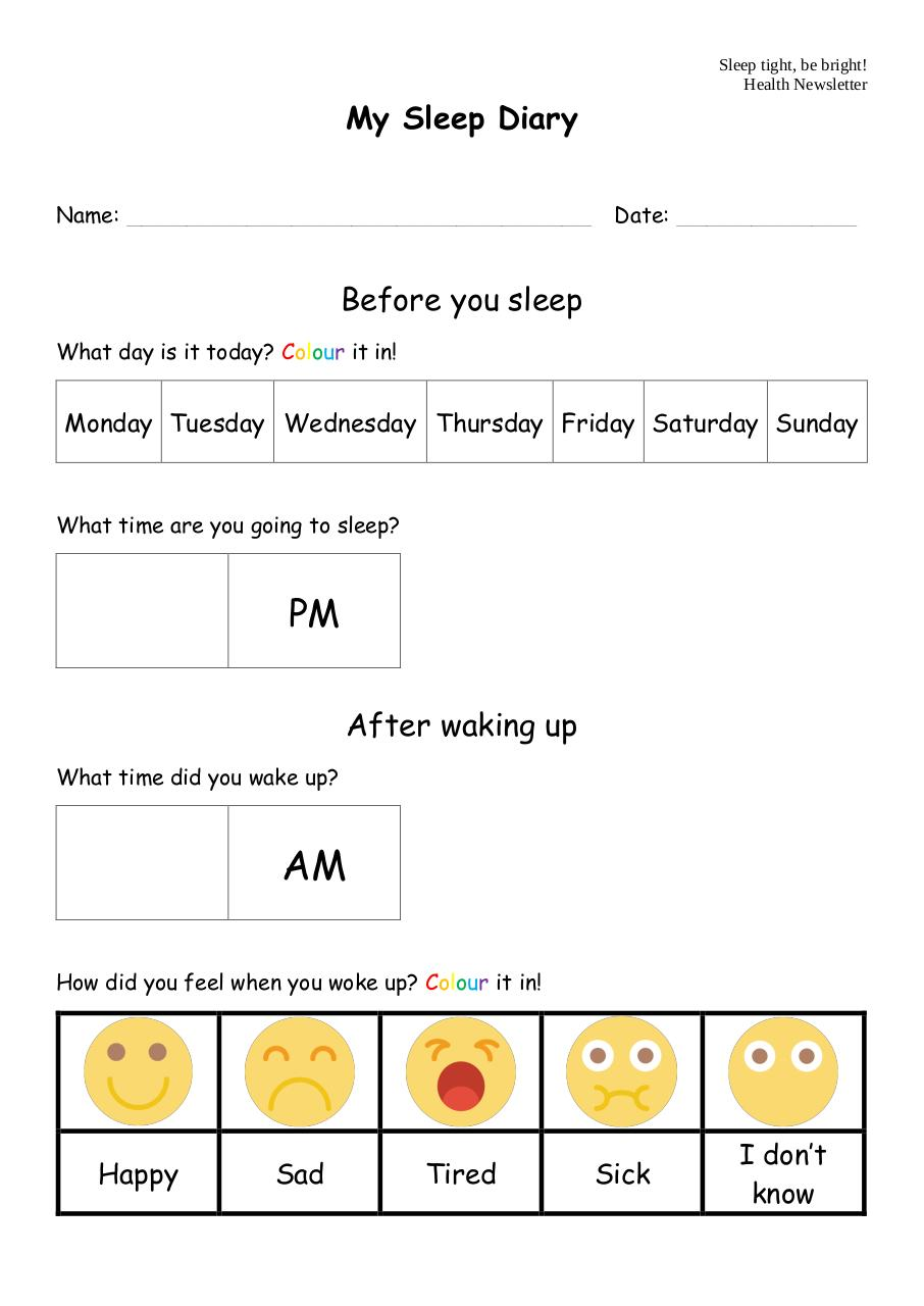 Document preview Sleep Tight Be Bright_My Sleep Diary.pdf - page 1/1