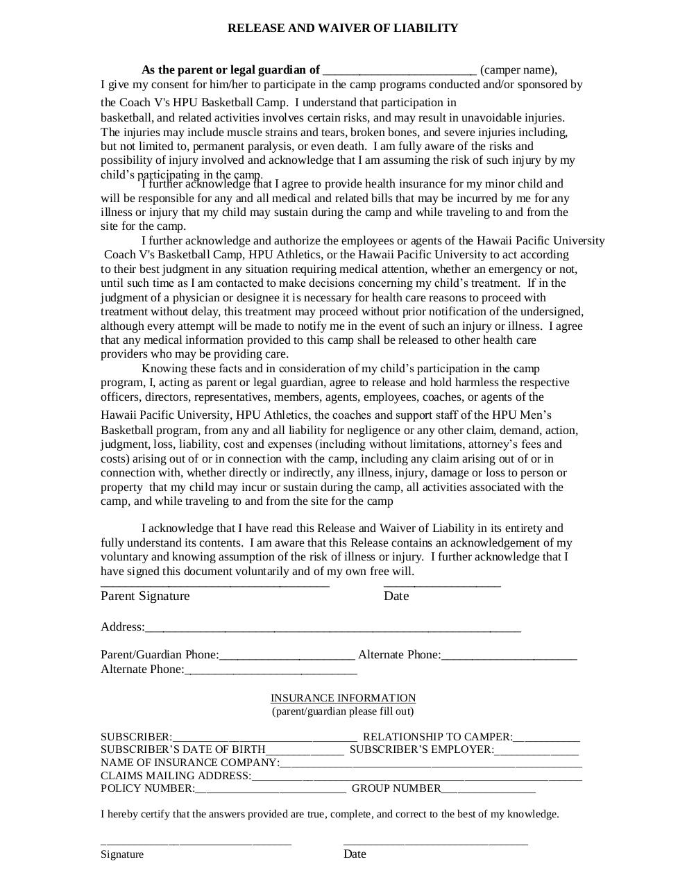 Document preview HPU Camp Waiver.pdf - page 1/1