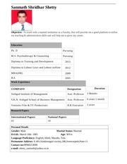 sanmath shetty one page profile