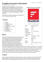 franklin university switzerland wikipedia