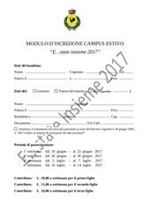 modello d iscrizione cam estivo 2017