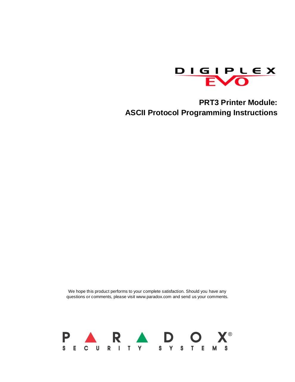 PRT3 ASCII Programming Guide - ASCII-EP02 pdf - PDF Archive