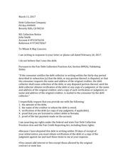 debt dispute letter