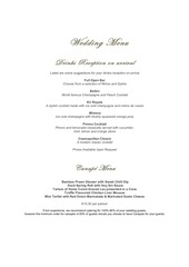 new wedding menu 2018