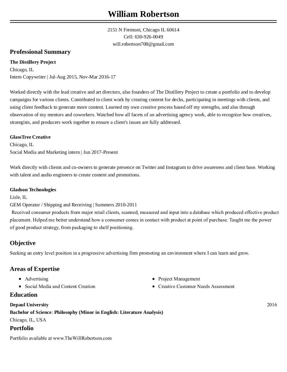 Document preview William  Robertson Resume 1 (4).pdf - page 1/1