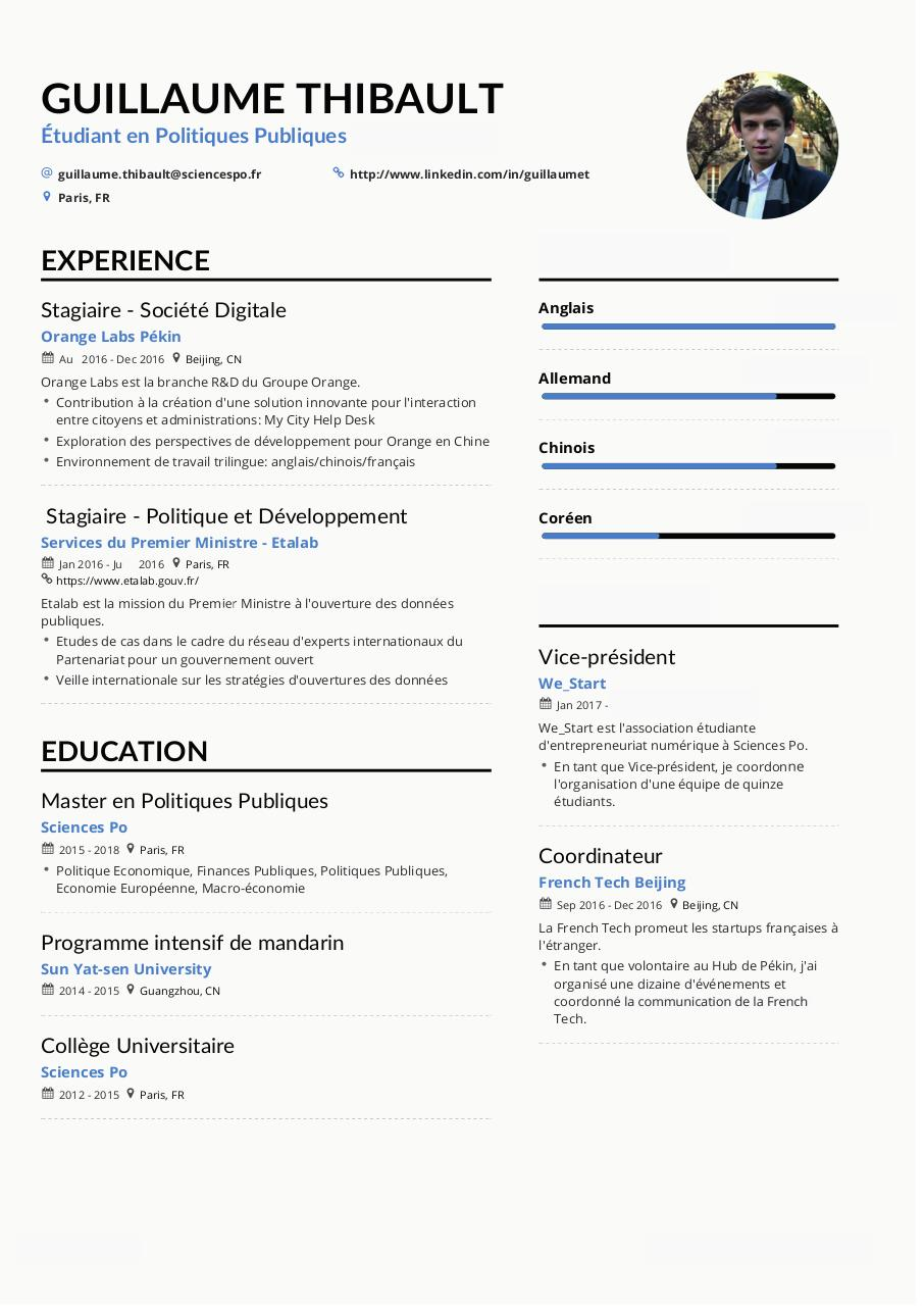 Document preview Guillaume Thibault CV FR.pdf - page 1/1