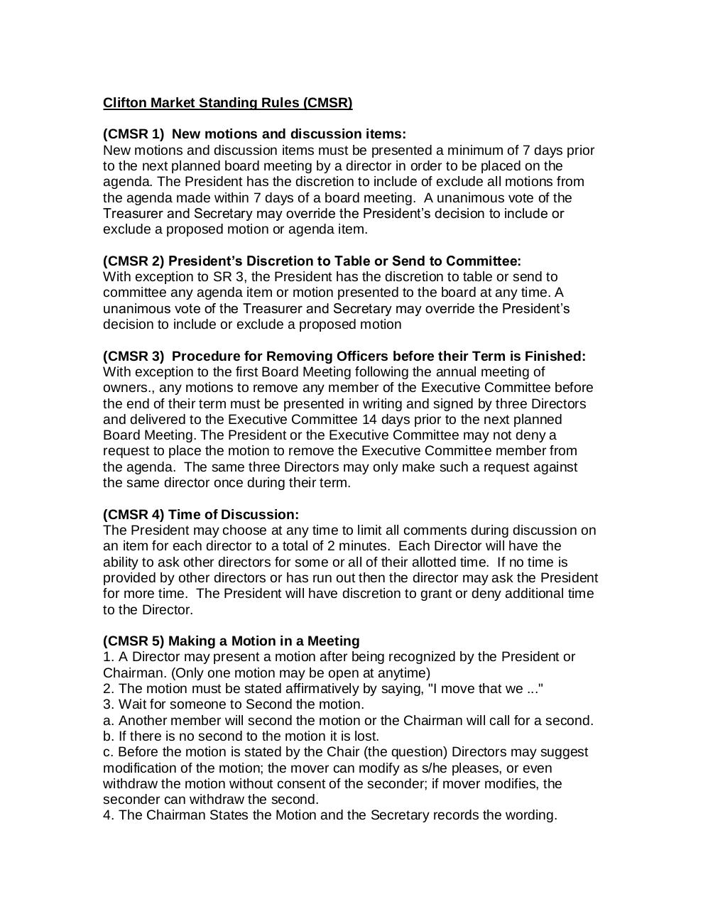 Clifton_Market_Standing_Rules_7-6-17.pdf - page 1/3