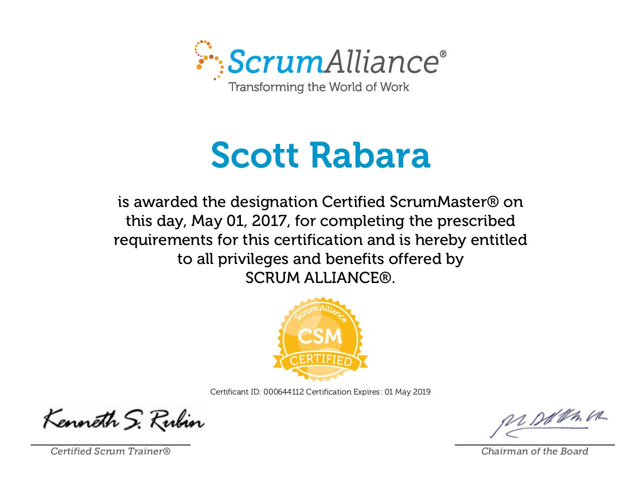 Certified Scrummaster By Scott Rabara Scott Rabara Scrumalliance